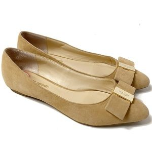 Kate Spade Norah tan suede bow pointy toe flats 6